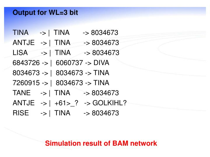Output for WL=3 bit