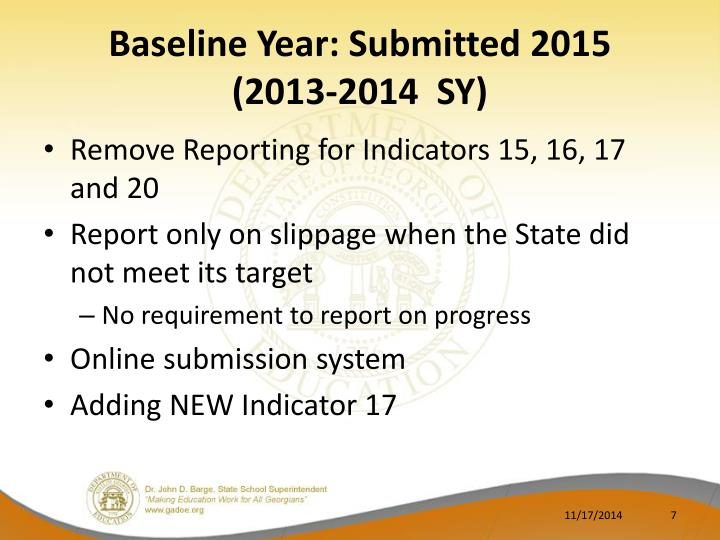 Baseline Year: Submitted 2015