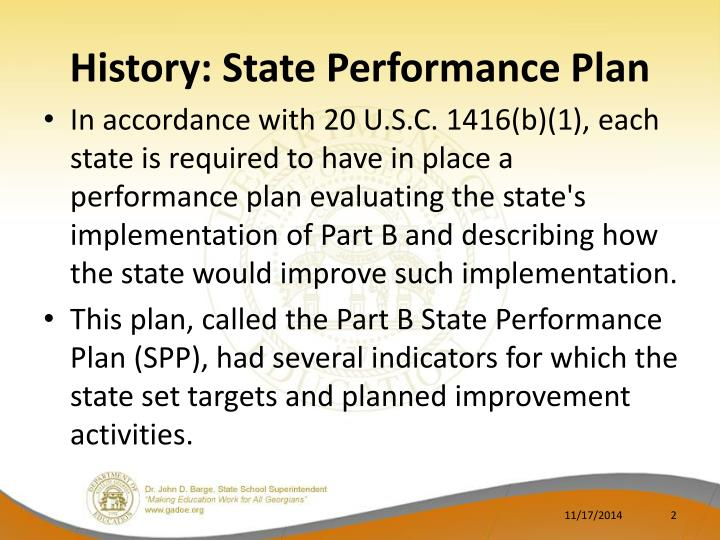 History state performance plan