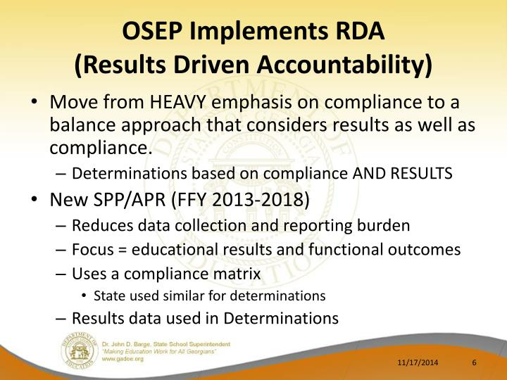 OSEP Implements RDA