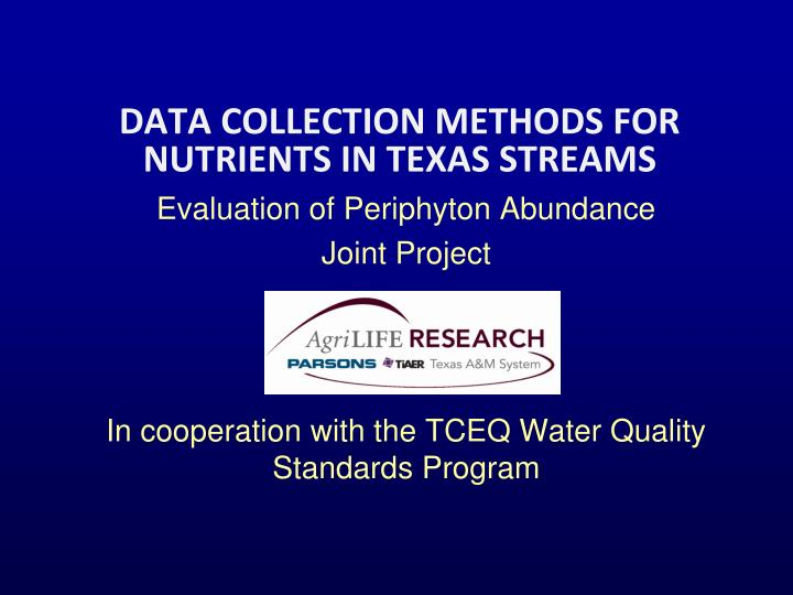 data collection methods for nutrients in texas streams n.