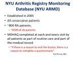 nyu arthritis registry monitoring database nyu armd