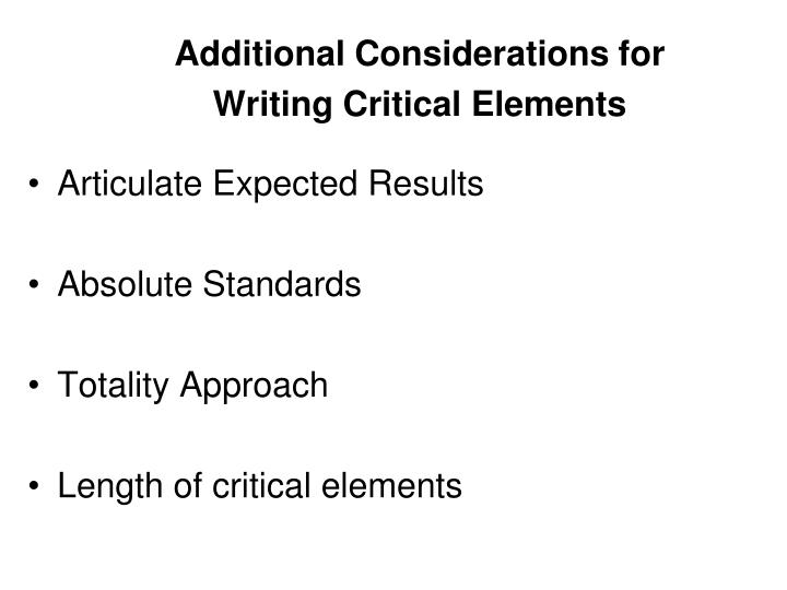 Additional Considerations for