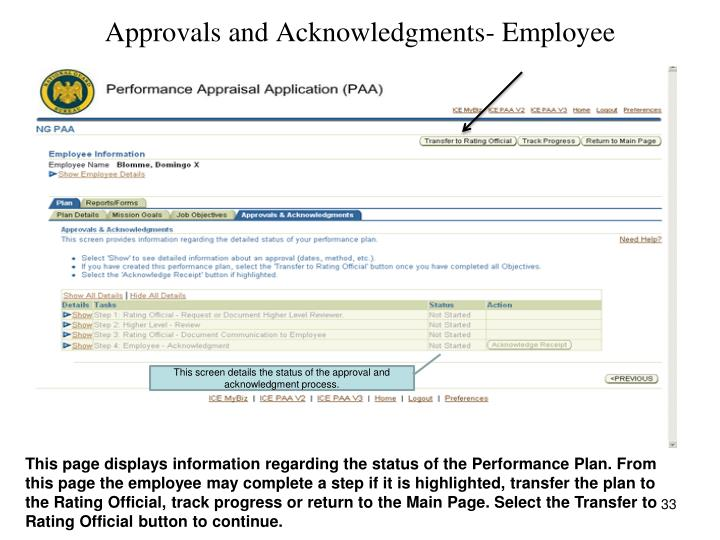 Approvals and Acknowledgments- Employee