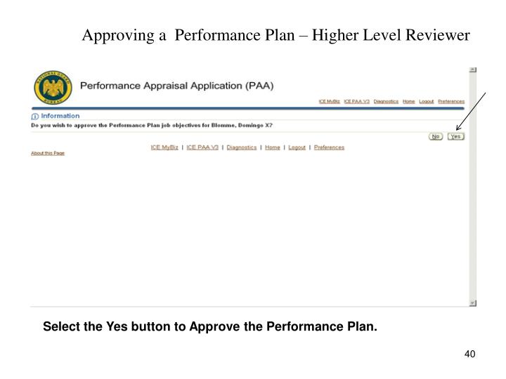 Approving a  Performance Plan – Higher Level Reviewer