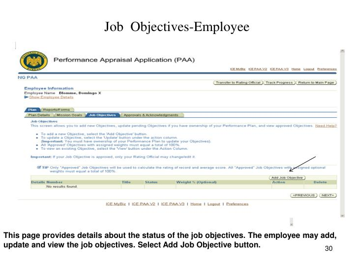 Job  Objectives-Employee