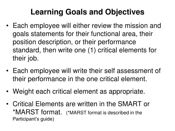 Learning goals and objectives