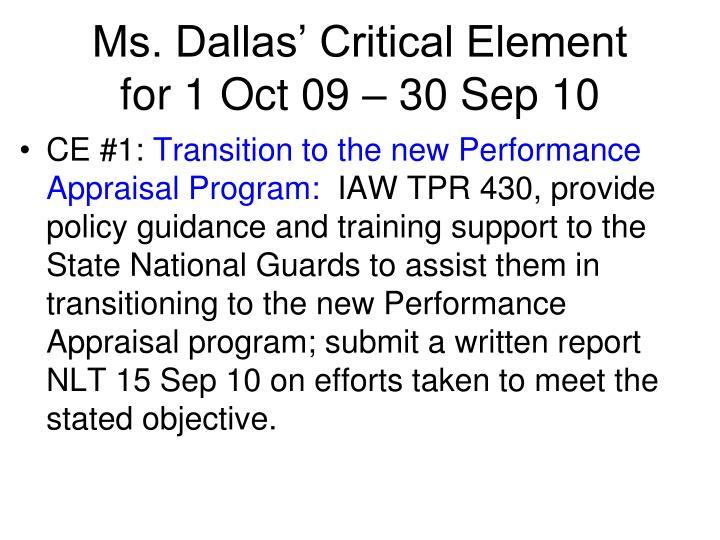 Ms. Dallas' Critical Element