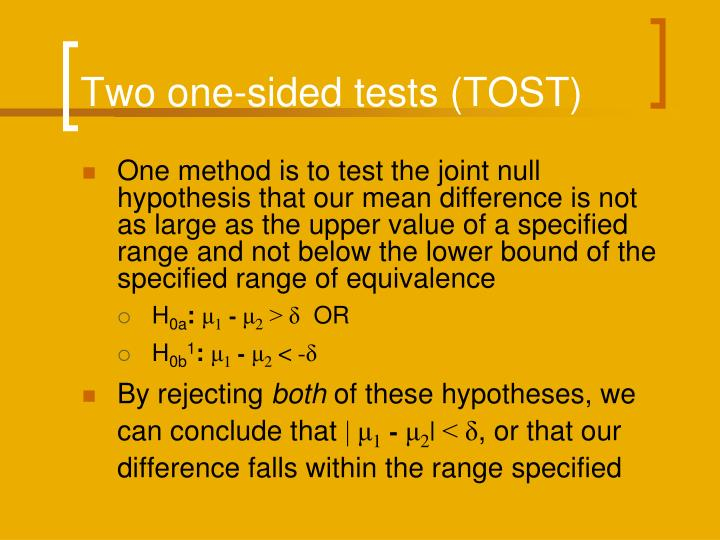 Two one-sided tests (TOST)