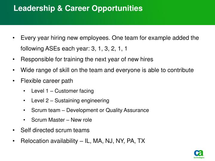 Leadership & Career Opportunities