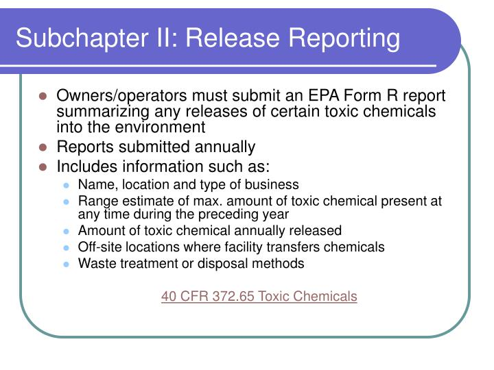Subchapter II: Release Reporting
