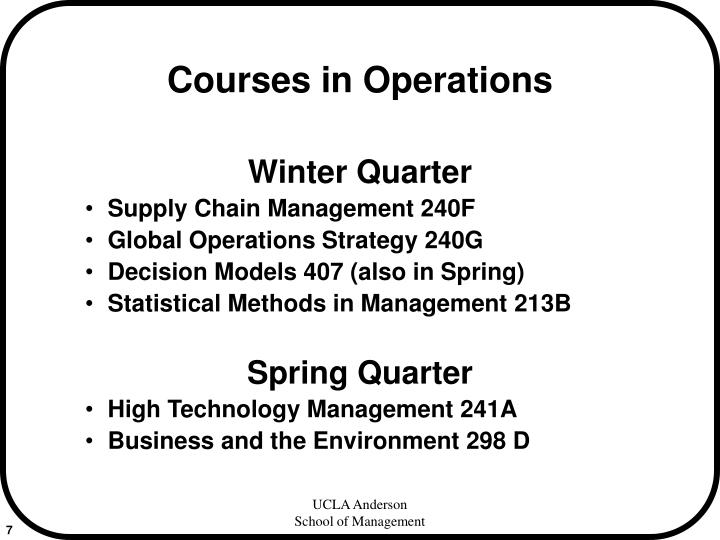 Courses in Operations