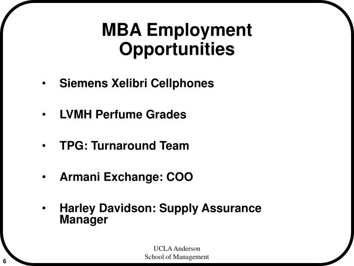 MBA Employment Opportunities