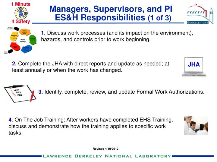 Managers supervisors and pi es h responsibilities 1 of 3