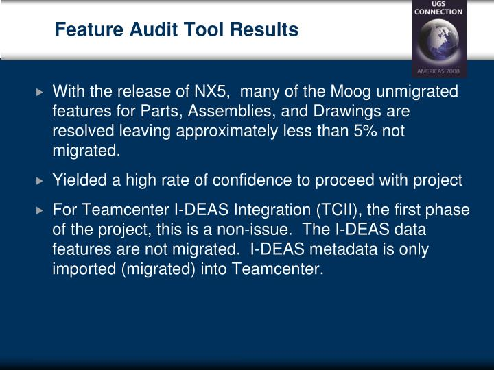 Feature Audit Tool Results