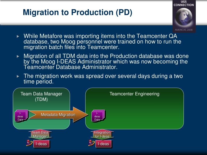 Migration to Production (PD)