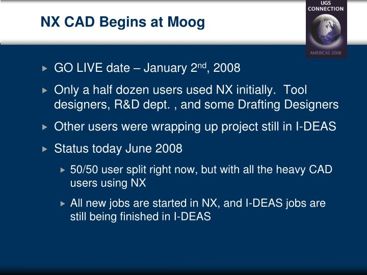 NX CAD Begins at Moog