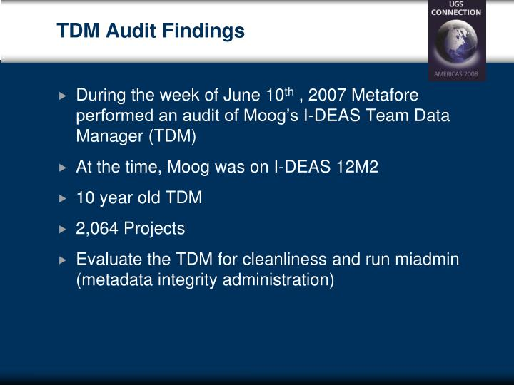 TDM Audit Findings