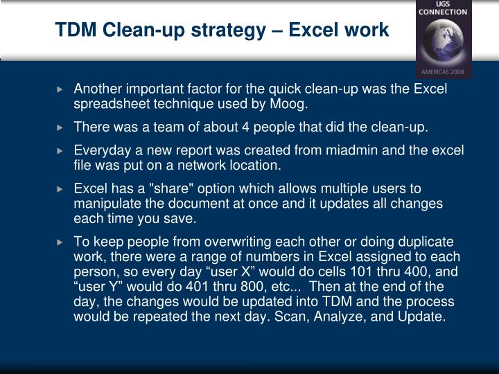 TDM Clean-up strategy – Excel work