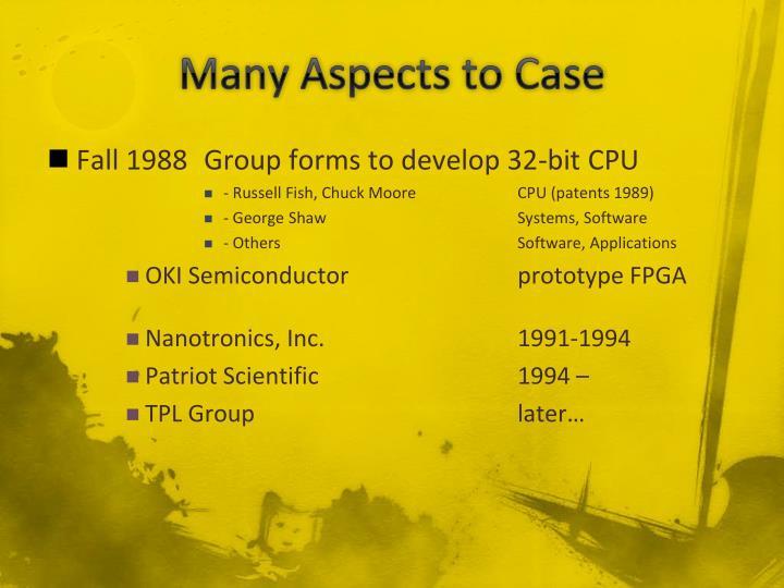 Many aspects to case