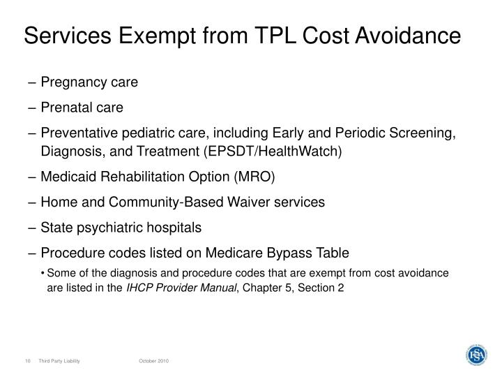 Services Exempt from TPL Cost Avoidance