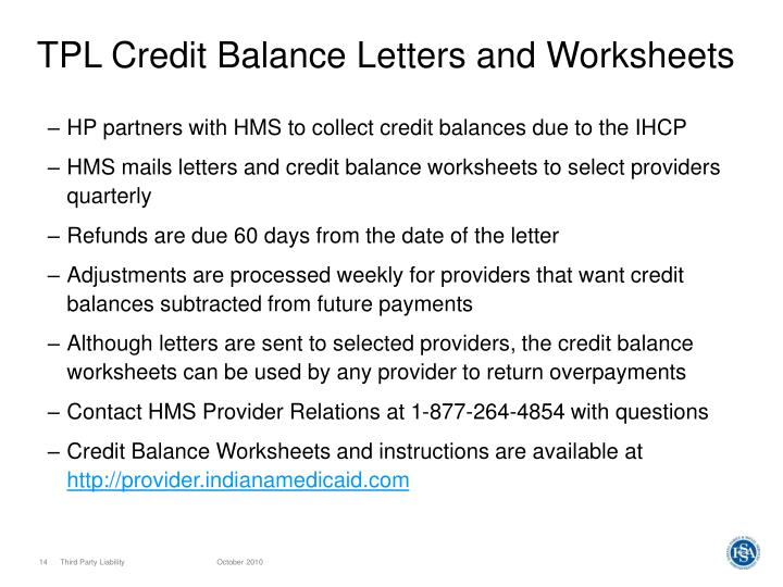 TPL Credit Balance Letters and Worksheets
