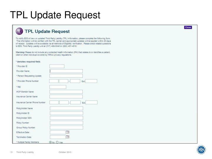 TPL Update Request