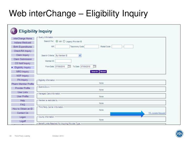 Web interChange – Eligibility Inquiry