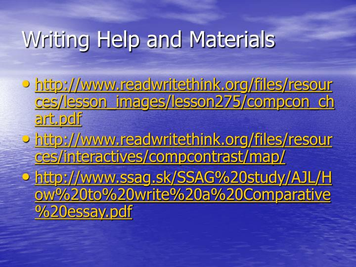 Writing Help and Materials