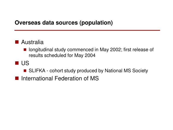Overseas data sources (population)