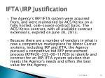 ifta irp justification