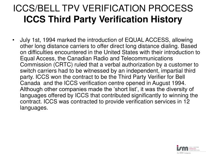 Iccs bell tpv verification process iccs third party verification history