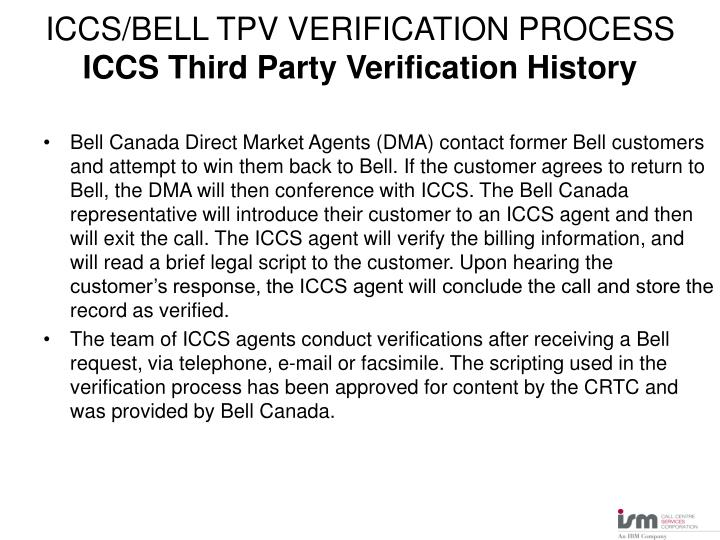 Iccs bell tpv verification process iccs third party verification history1