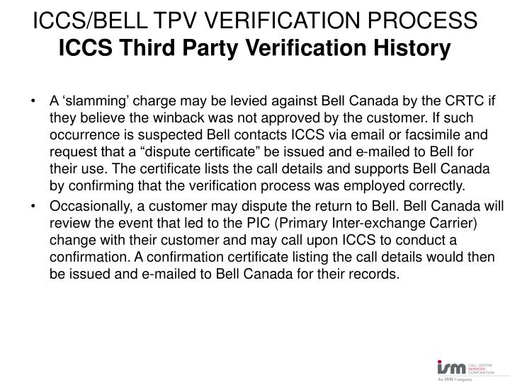Iccs bell tpv verification process iccs third party verification history2