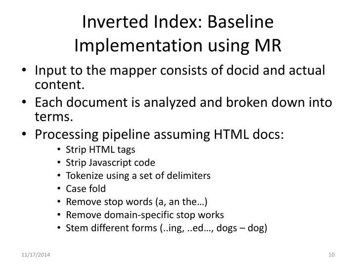Inverted Index: Baseline Implementation using MR