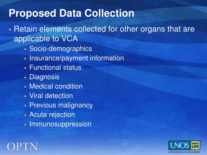 Proposed Data Collection