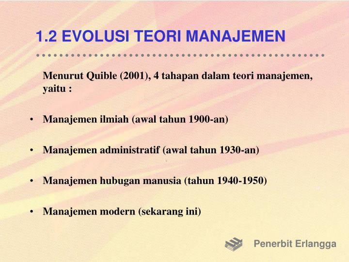 1.2 EVOLUSI TEORI MANAJEMEN