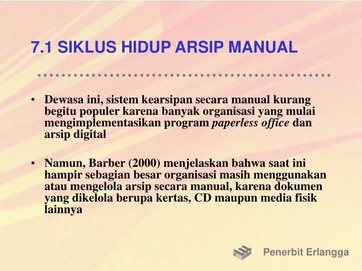 7.1 SIKLUS HIDUP ARSIP MANUAL
