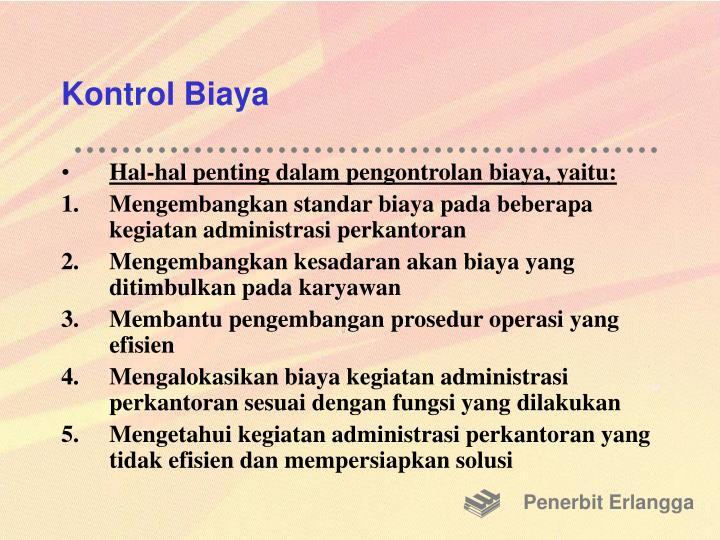 Kontrol Biaya