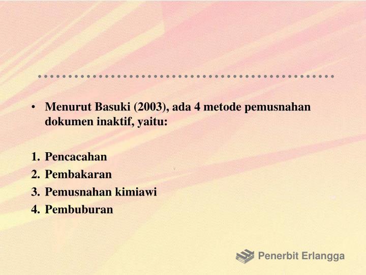 Menurut Basuki (2003), ada 4 metode pemusnahan dokumen inaktif, yaitu: