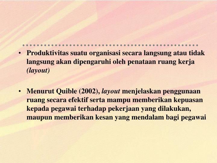 Produktivitas suatu organisasi secara langsung atau tidak langsung akan dipengaruhi oleh penataan ruang kerja