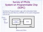 survey of fplds system on programmable chip sopc