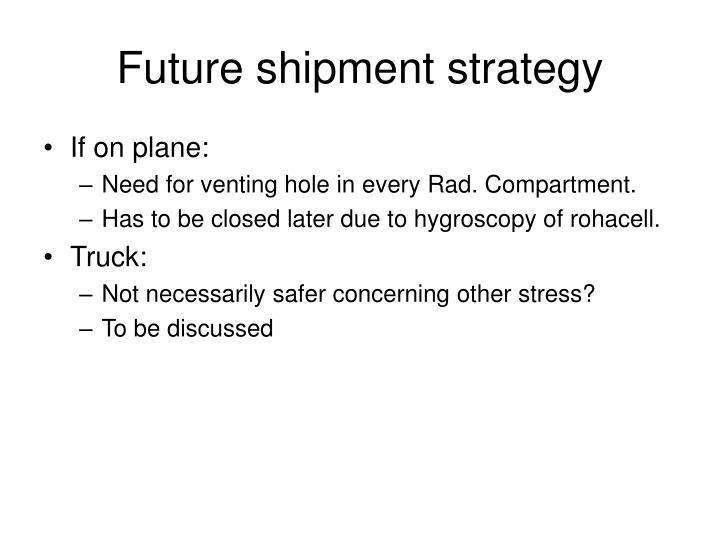 Future shipment strategy