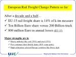 european rail freight change pattern so far