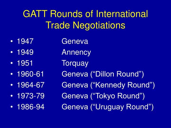 Gatt rounds of international trade negotiations