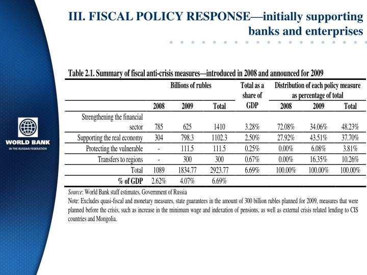 III. FISCAL POLICY RESPONSE—initially supporting banks and enterprises