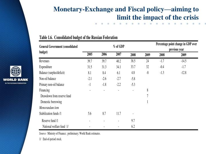 Monetary-Exchange and Fiscal policy—aiming to limit the impact of the crisis