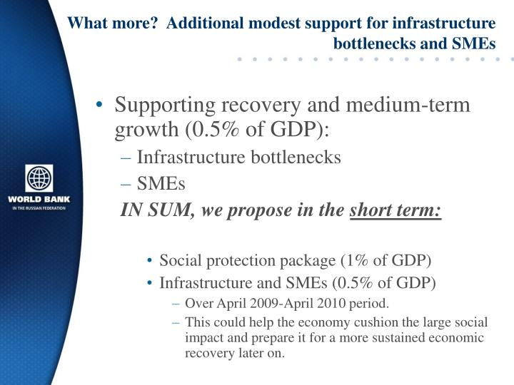 What more?  Additional modest support for infrastructure bottlenecks and SMEs