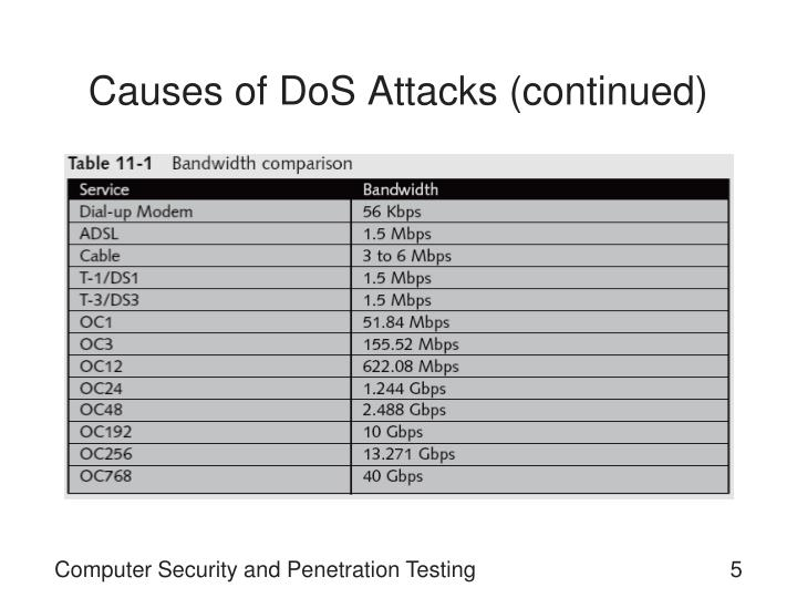 Causes of DoS Attacks (continued)