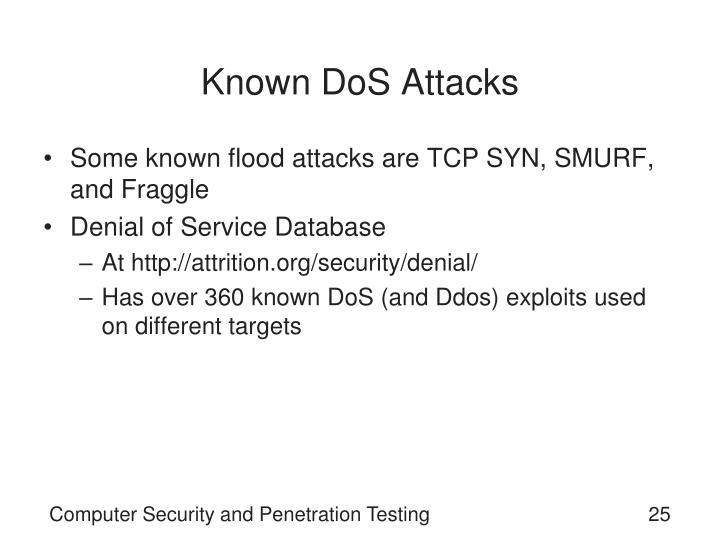 Known DoS Attacks